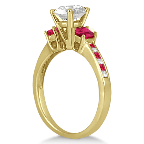 Princess Cut Diamond & Ruby Engagement Ring 18k Yellow Gold (0.68ct)