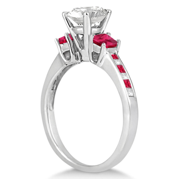 Princess Cut Diamond & Ruby Engagement Ring Palladium (0.64ct)