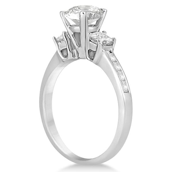 Three-Stone Princess Cut Diamond Engagement Ring Palladium (0.64ct)