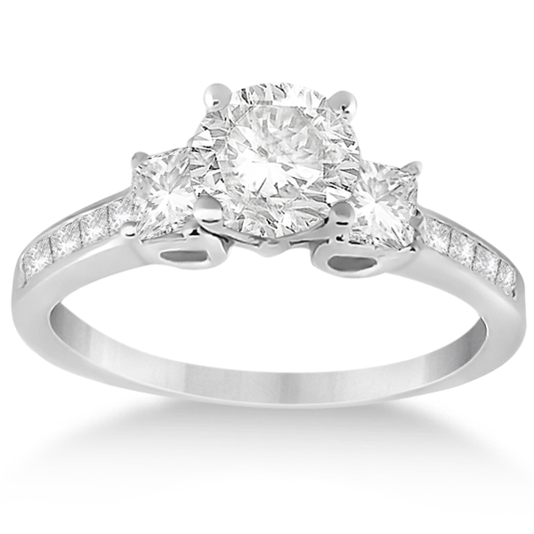 Three-Stone Princess Cut Diamond Engagement Ring Platinum (0.64 ctw)