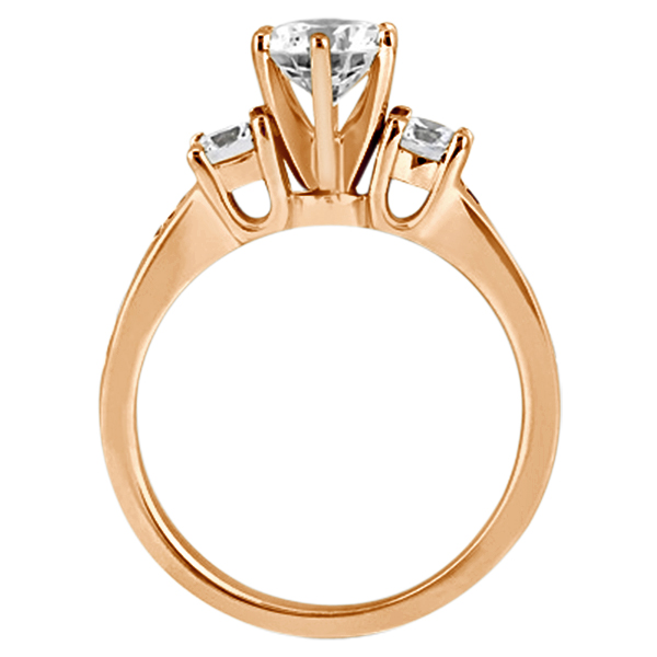 Three-Stone Diamond Engagement Ring with Sidestones in 14k Rose Gold (0.45 ctw)