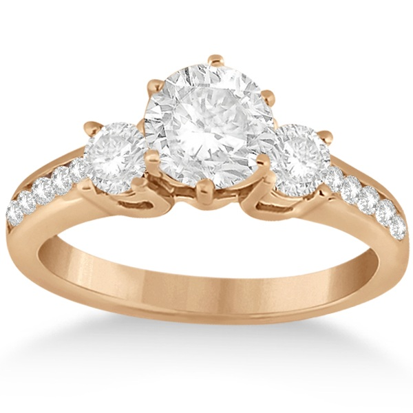 Three-Stone Diamond Engagement Ring with Sidestones in 18k Rose Gold (0.45 ctw)