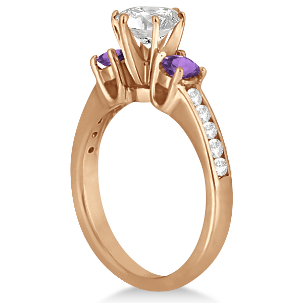 Three-Stone Amethyst & Diamond Engagement Ring 14k Rose Gold (0.45ct)