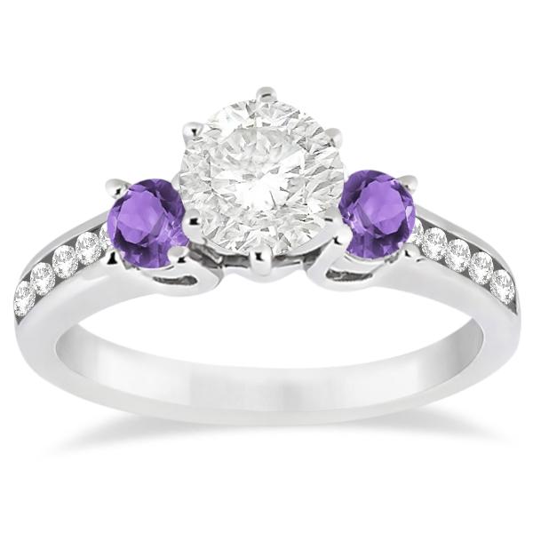 Three Stone Amethyst Diamond Engagement Ring 14k White Gold