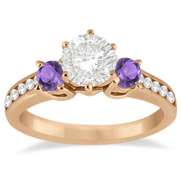 Three-Stone Amethyst & Diamond Engagement Ring 18k Rose Gold (0.45ct)