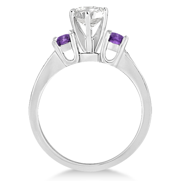 Three-Stone Amethyst & Diamond Engagement Ring 18k White Gold (0.45ct)