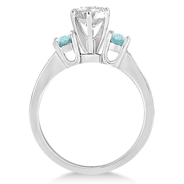 Three-Stone Aquamarine & Diamond Engagement Ring 14k White Gold 0.45ct