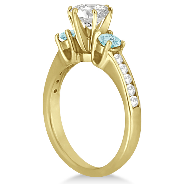 Three-Stone Aquamarine & Diamond Engagement Ring 14k Y. Gold (0.45ct)