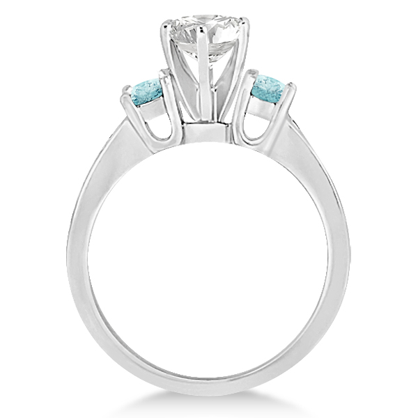 Three-Stone Aquamarine & Diamond Engagement Ring 18k White Gold 0.45ct