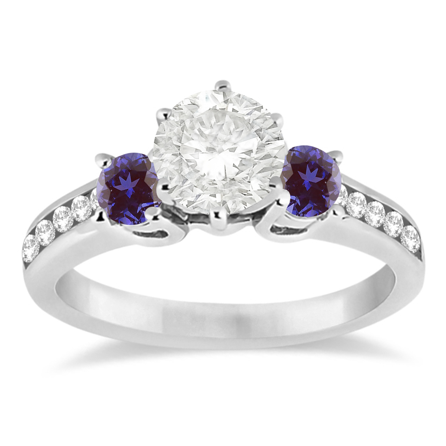 Three-Stone Diamond Engagement Ring with Lab Alexandrites in 18k White Gold (0.45 ctw)