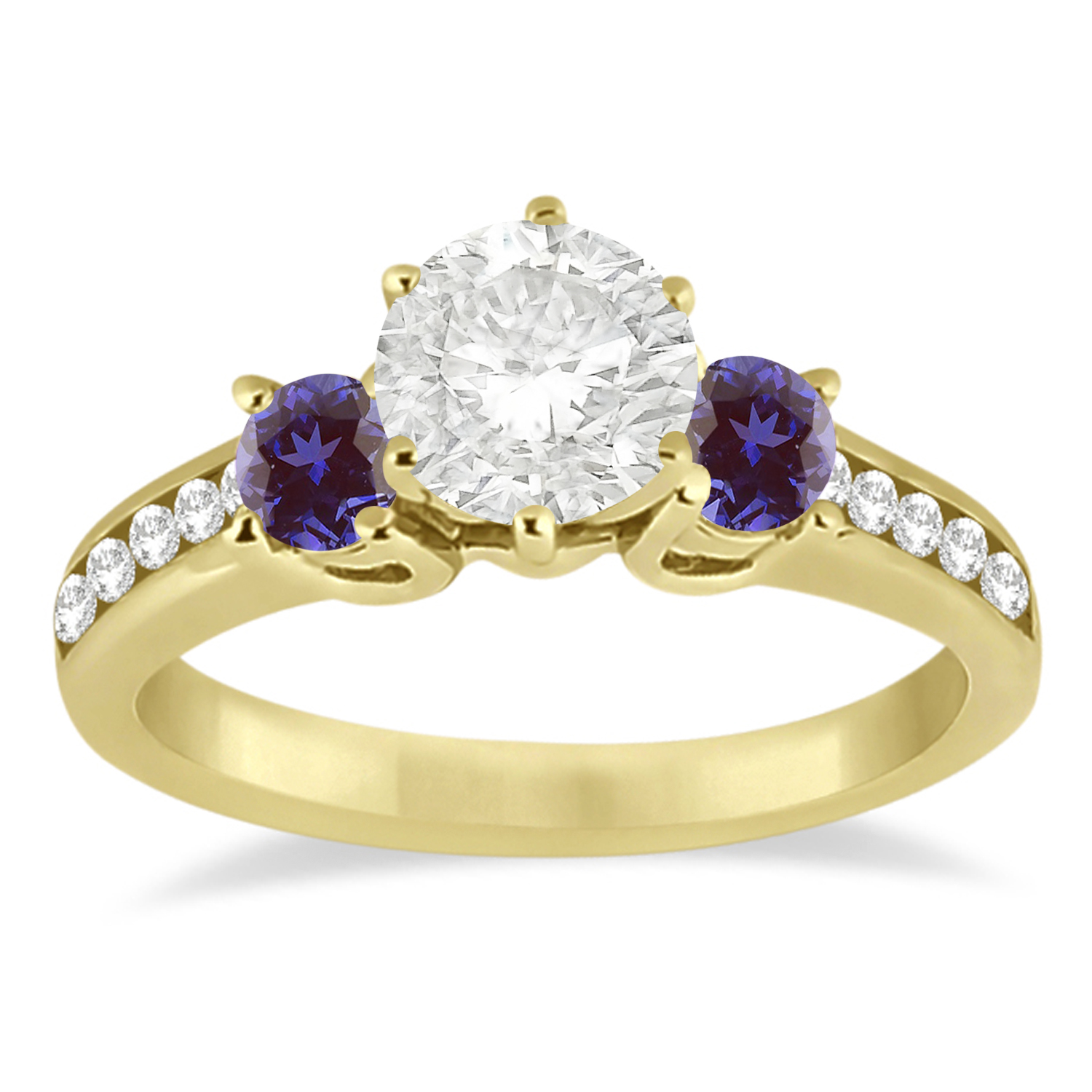 Three-Stone Diamond Engagement Ring with Lab Alexandrites in 18k Yellow Gold (0.45 ctw)