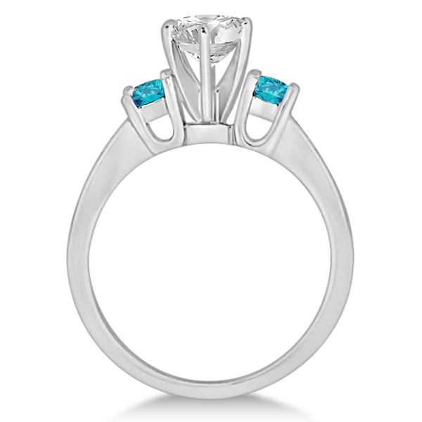 3 Stone White & Blue Diamond Engagement Ring 18K White Gold (0.45 ctw)