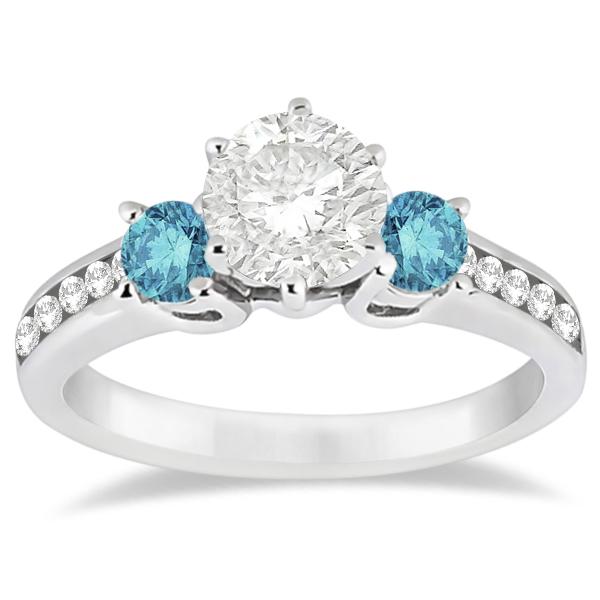 3 Stone Fancy White & Blue Diamond Engagement Ring  (0.45 ctw)