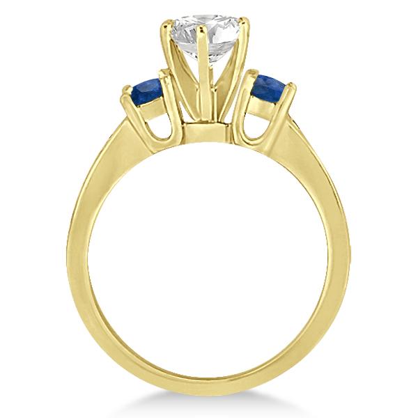 Three-Stone Sapphire & Diamond Engagement Ring 14k Yellow Gold (0.60ct)
