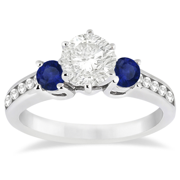 Three-Stone Sapphire & Diamond Engagement Ring 18k White Gold (0.60ct)