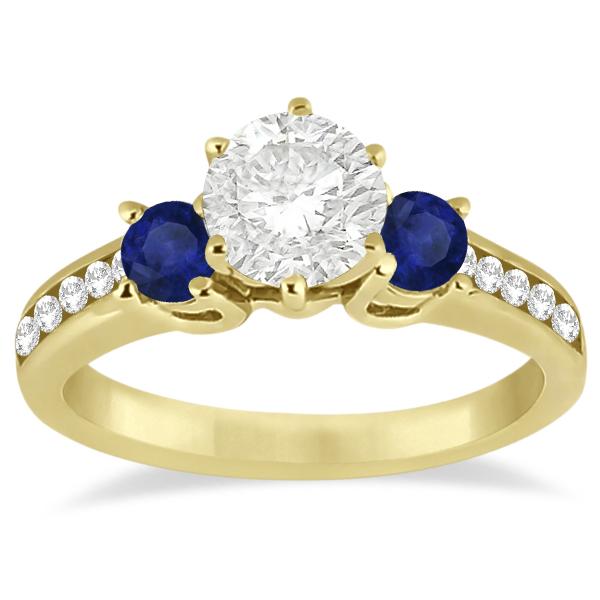 Three-Stone Sapphire & Diamond Engagement Ring 18k Yellow Gold (0.60ct)