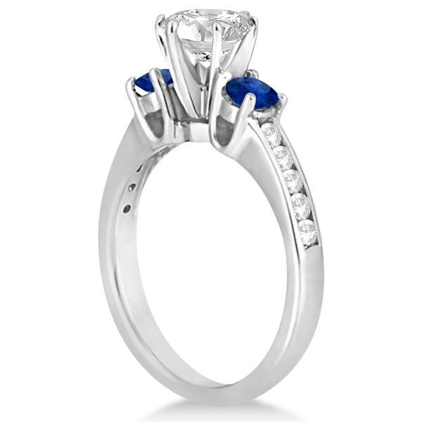 Three-Stone Sapphire & Diamond Engagement Ring Platinum (0.60ct)
