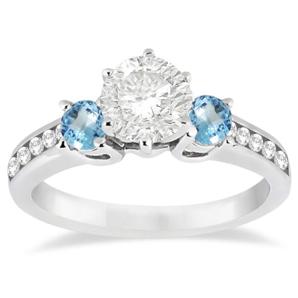 Three-Stone Blue Topaz & Diamond Engagement Ring 18k White Gold 0.45ct