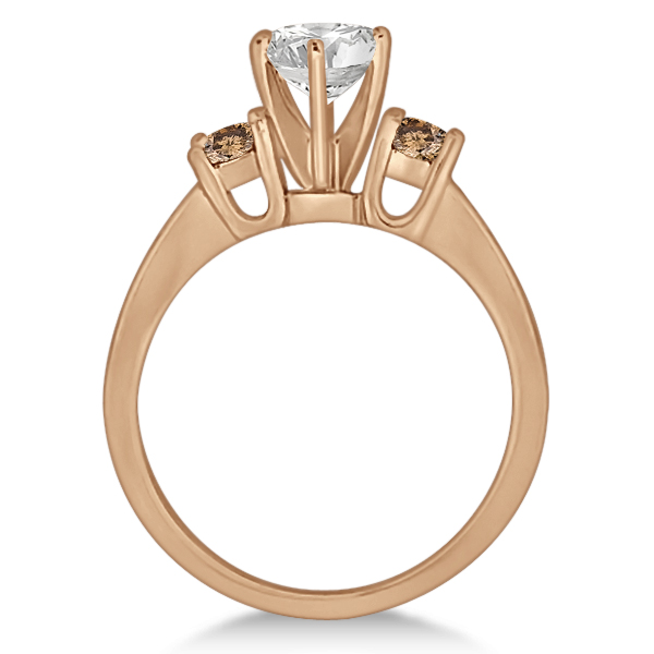 White & Champagne Diamond Engagement Ring 14K Rose Gold (0.45 ctw)
