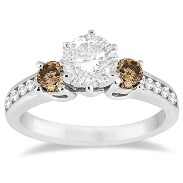 White & Champagne Diamond Engagement Ring 14K White Gold (0.45 ctw)