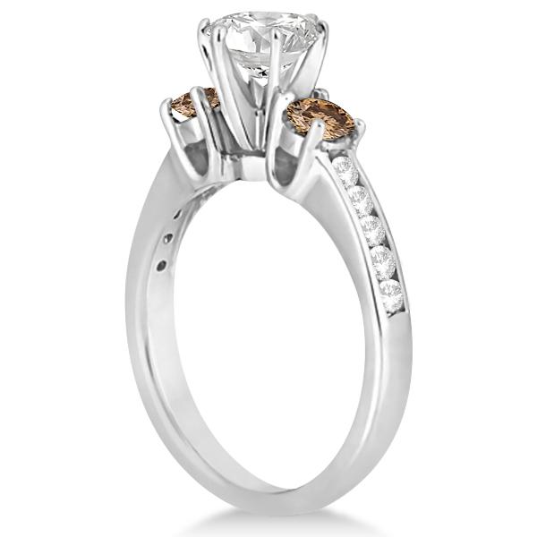 White & Champagne Diamond Engagement Ring 18K White Gold (0.45 ctw)