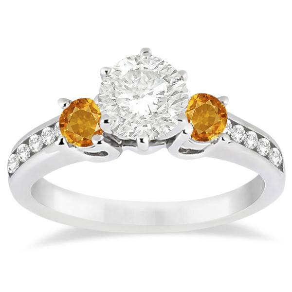 Three-Stone Citrine & Diamond Engagement Ring 14k White Gold (0.45ct)