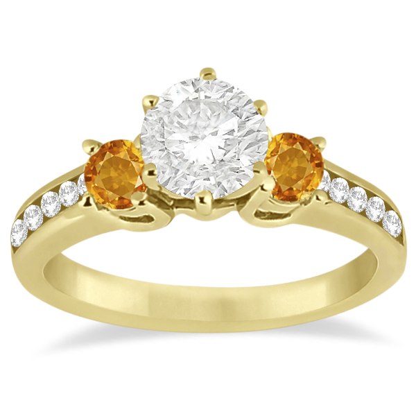 Three-Stone Citrine & Diamond Engagement Ring 14k Yellow Gold (0.45ct)