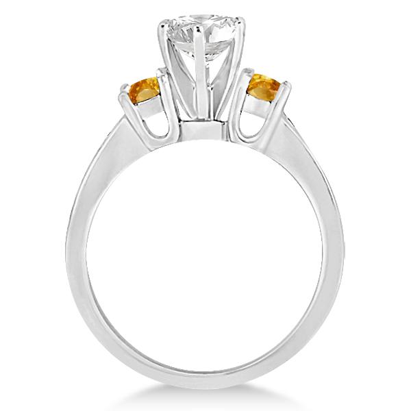 Three-Stone Citrine & Diamond Engagement Ring Palladium (0.45ct)
