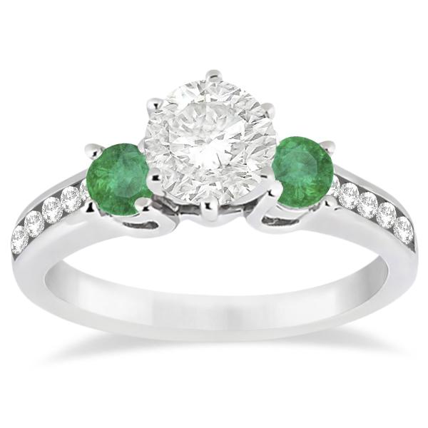 Three-Stone Emerald & Diamond Engagement Ring 18k White Gold (0.45ct)