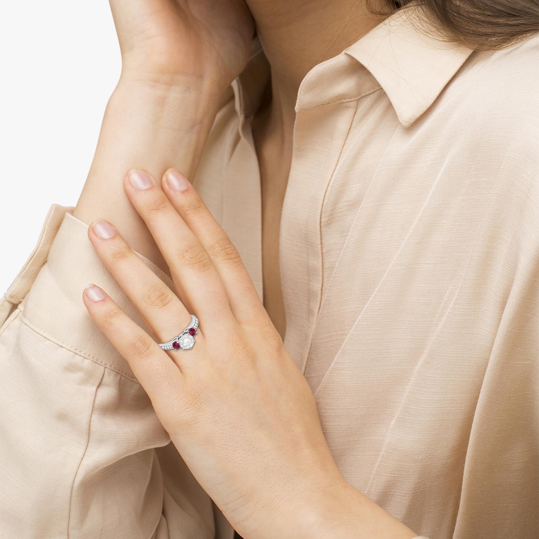 Three-Stone Garnet & Diamond Engagement Ring 14k White Gold (0.45ct)