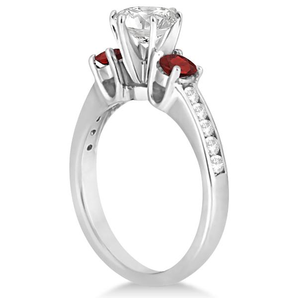 Three-Stone Garnet & Diamond Engagement Ring Palladium (0.45ct)