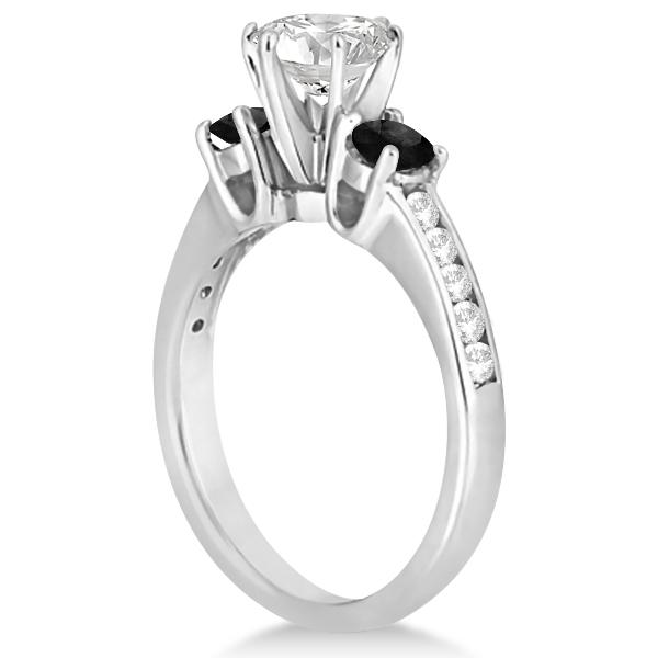 3 Stone White & Black Diamond Engagement Ring 14K White Gold (0.45 ctw)