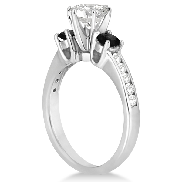 3 Stone White & Black Diamond Engagement Ring Palladium Setting (0.45 ctw)