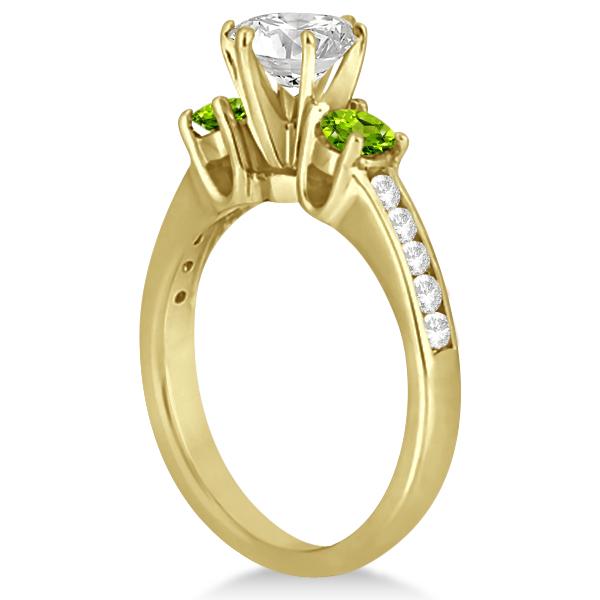 Three-Stone Peridot & Diamond Engagement Ring 14k Yellow Gold (0.45ct)