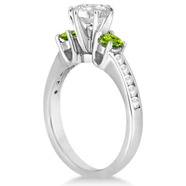 Three-Stone Peridot & Diamond Engagement Ring 18k White Gold (0.45ct)