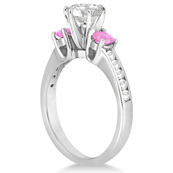 3 Stone Diamond and Pink Sapphire Engagement Ring 14k W Gold (0.60ct)