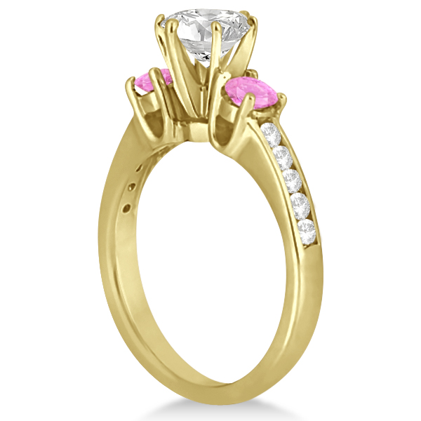 3 Stone Diamond and Pink Sapphire Engagement Ring 18k Y Gold (0.60ct)