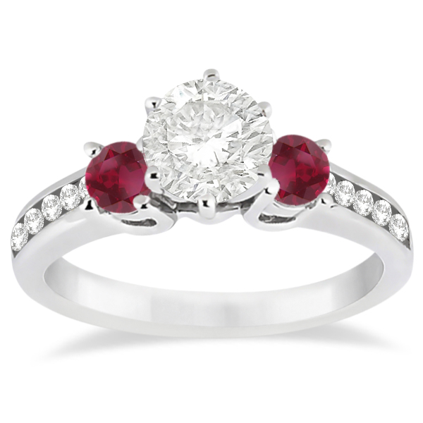 Three-Stone Ruby & Diamond Engagement Ring 14k White Gold (0.60ct)