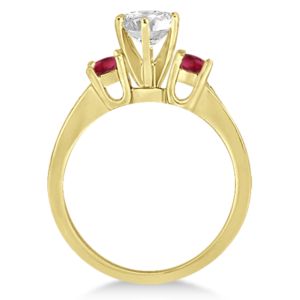 Three-Stone Ruby & Diamond Engagement Ring 14k Yellow Gold (0.60ct)
