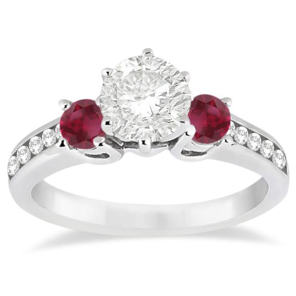 Three-Stone Ruby & Diamond Engagement Ring 18k White Gold (0.60ct)