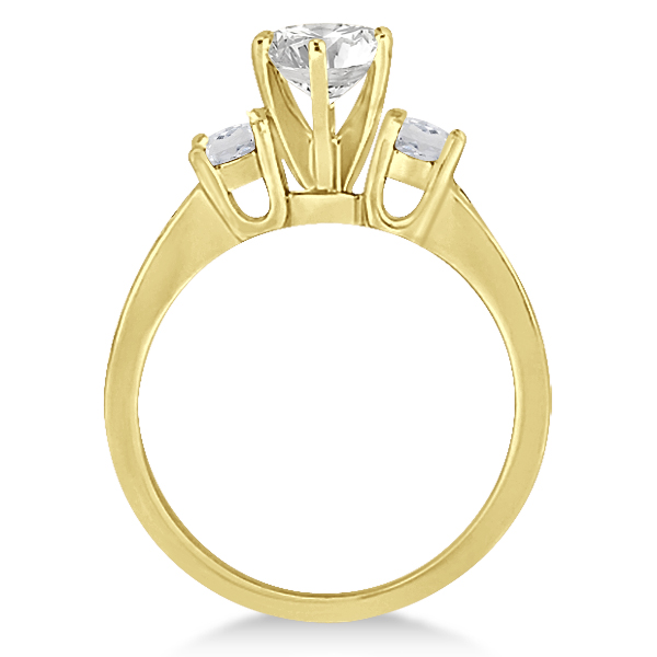 Three-Stone White Topaz & Diamond Engagement Ring 14k Y. Gold (0.45ct)