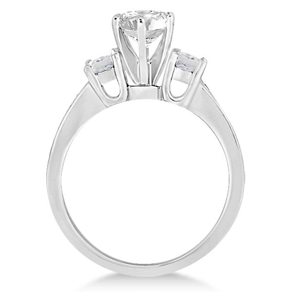 Three-Stone White Topaz & Diamond Engagement Ring 18k W. Gold (0.45ct)