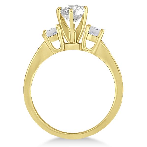 Three-Stone White Topaz & Diamond Engagement Ring 18k Y. Gold (0.45ct)