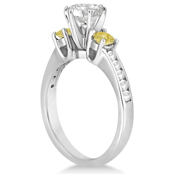 3 Stone White & Yellow Diamond Engagement Ring 14K White Gold (0.45 ctw)