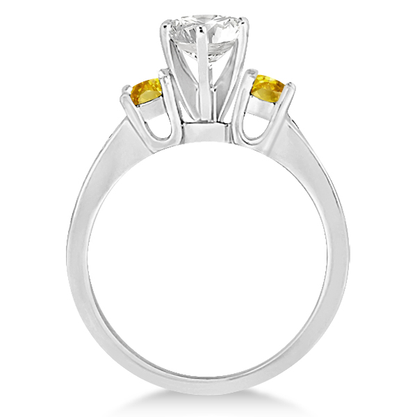 3 Stone Yellow Sapphire & Diamond Engagement Ring 14k W. Gold (0.45ct)