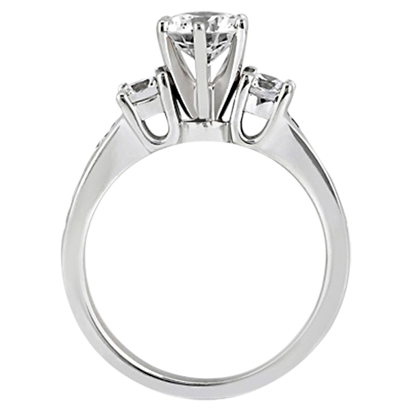 Three-Stone Diamond Engagement Ring w/ Sidestones Palladium (0.45ct)