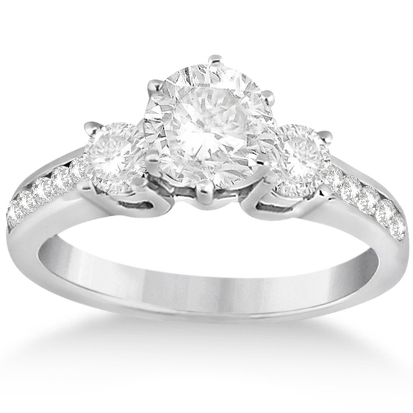Three-Stone Diamond Engagement Ring w/ Sidestones Platinum (0.45ct)