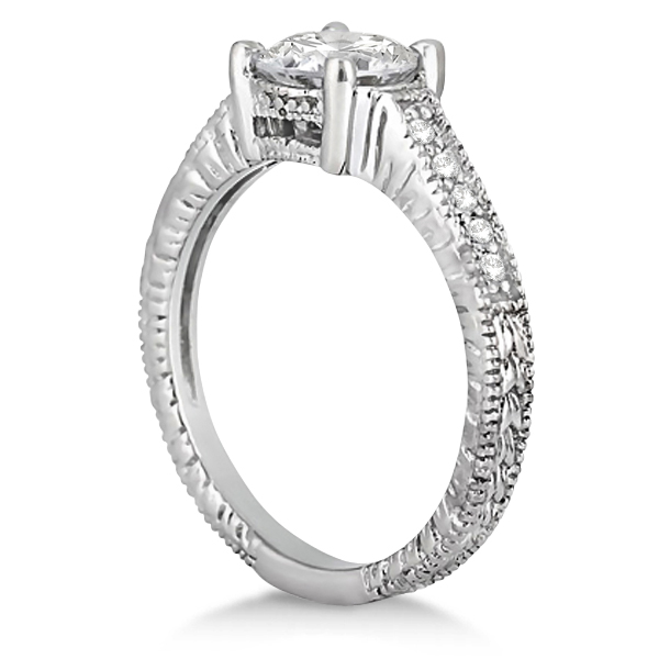 Antique Diamond Vintage Engagement Ring Setting 14k White Gold (0.20ct)