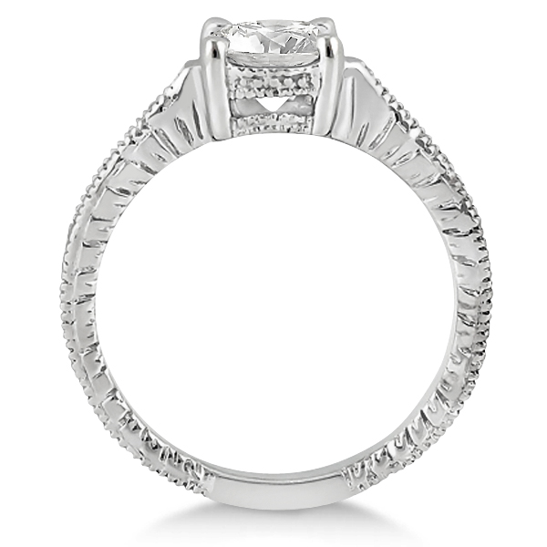 Antique Diamond Vintage Engagement Ring Setting 18k White Gold (0.20ct)