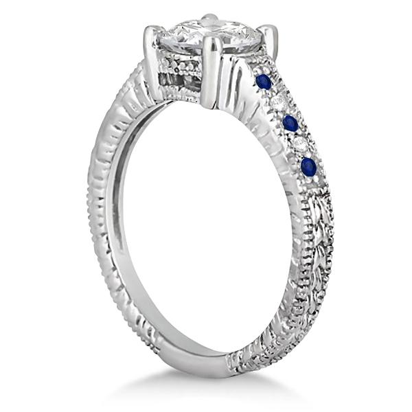 Vintage Blue Sapphire & Diamond Engagement Ring 14k White Gold 0.31ct